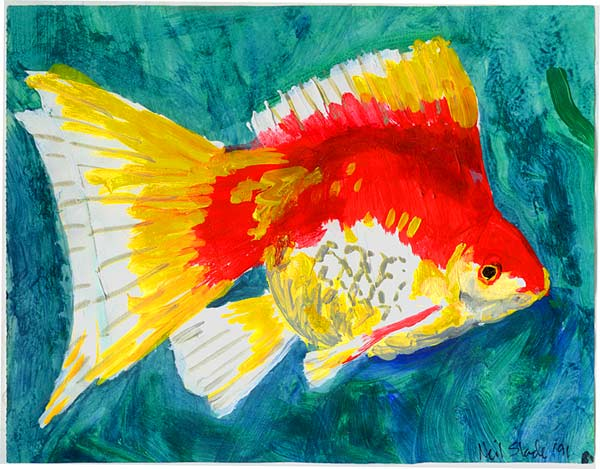 Acrylic paint on paper 8 x 10 for Easy fish painting